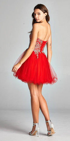 Aspeed 1891 Red Strapless Homecoming Short Dress Embroidered Back View
