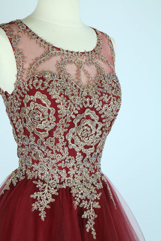 Burgundy Appliqued Homecoming Dress Lace Up Cut Out Back