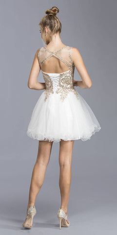 Off White Appliqued Homecoming Dress Lace Up Cut Out Back