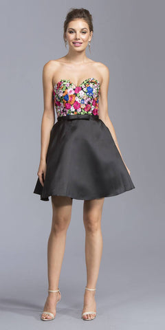 Black Strapless Embroidered Short Homecoming Dress with Bow