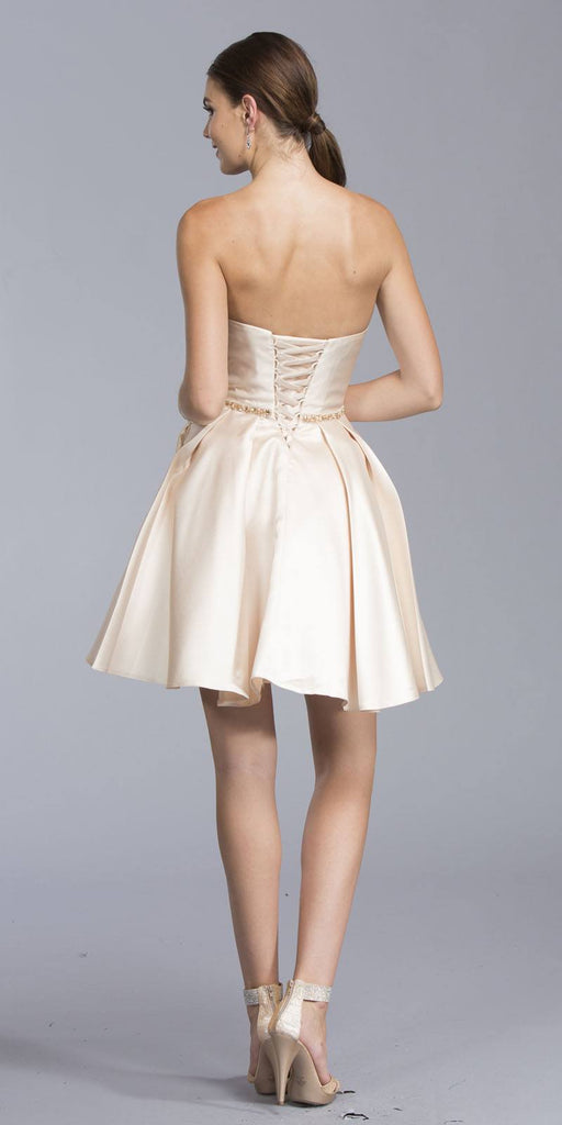 Bead Embellished Strapless Short Prom Dress Champagne