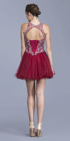 Burgundy High Neckline Beaded Short Homecoming Dress