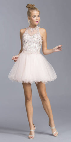 Appliqued Bodice Halter Homecoming Dress Blush