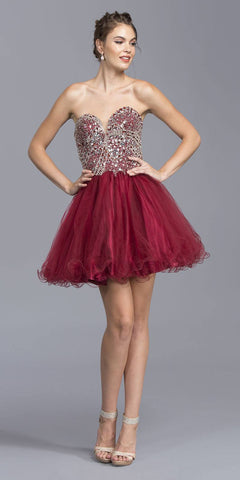 Burgundy Beaded Bodice Short Prom Dress Strapless