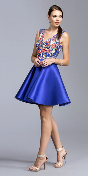 Embroidered Homecoming Short Dress Royal Blue