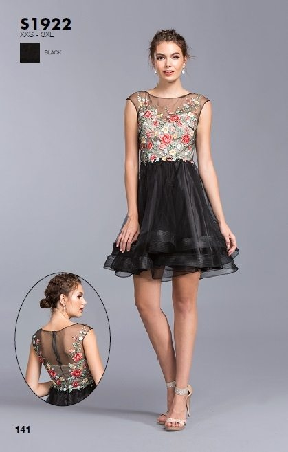 Aspeed S1922 Black Cap Sleeves Embroidered Homecoming Short Dress