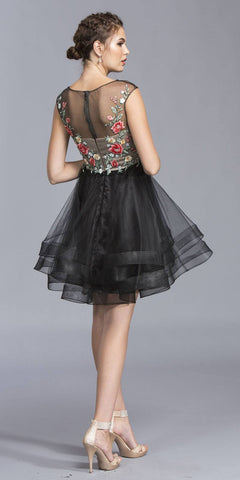 Black Cap Sleeves Embroidered Homecoming Short Dress