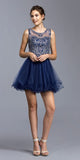 Navy Blue Sleeveless Homecoming Short Dress Cut-Out Back
