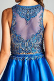 Royal Blue Two-Piece Homecoming Dress with Pockets