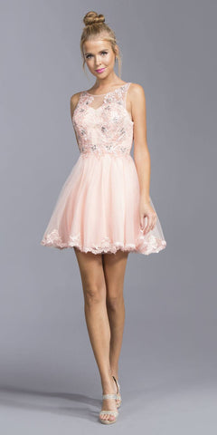 Blush Sleeveless Homecoming Short Dress with Appliques