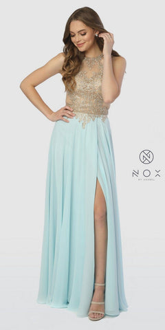 Halter Appliqued Long Prom Dress Cut-Out Back Aqua