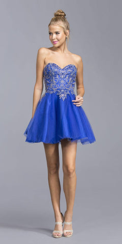 Royal Blue Sweetheart Neckline Strapless Homecoming Short Dress