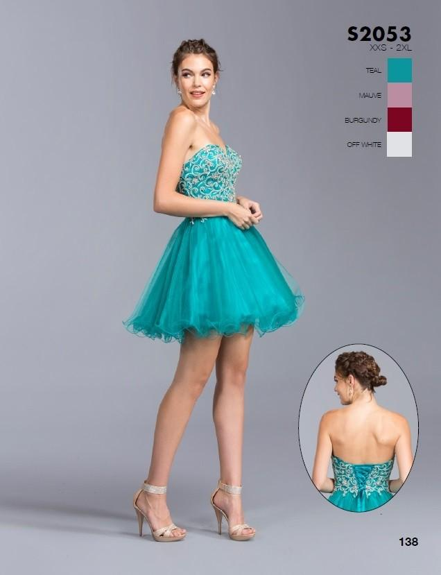 855183250ee ... Aspeed S2053 Teal Strapless Short Homecoming Dress Sweetheart Neckline  ...