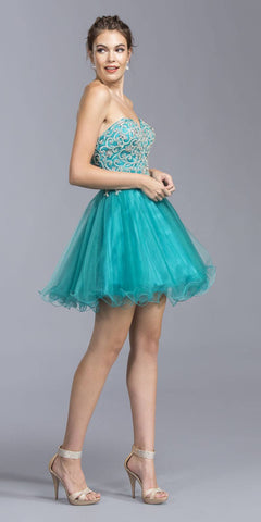 Teal Strapless Short Homecoming Dress Sweetheart Neckline