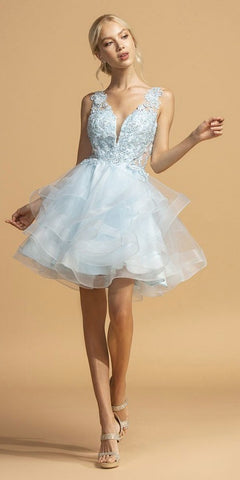 Powder Blue Tiered Homecoming Short Dress with Appliques
