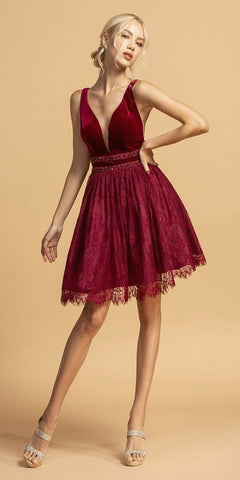 Burgundy Lace V-Neck and Back Homecoming Short Dress
