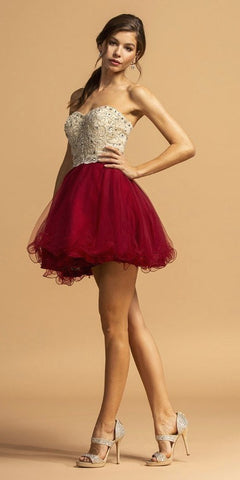 Strapless Beaded Homecoming Short Dress Burgundy
