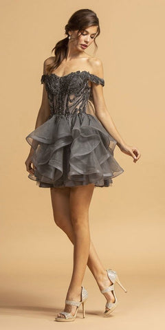 Off-Shoulder Tiered Homecoming Short Dress Charcoal