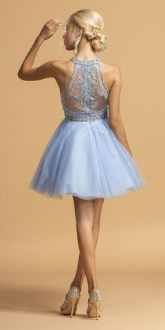 Embroidered Halter Short Homecoming Dress Baby Blue