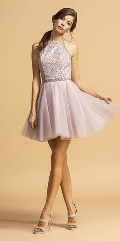 Embroidered Halter Short Homecoming Dress Mauve