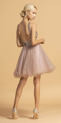 V-Neck Beaded Homecoming Short Dress Mauve