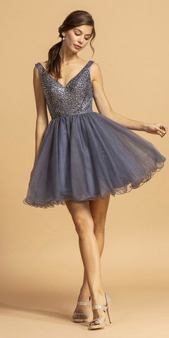 V-Neck Beaded Homecoming Short Dress Slate Blue