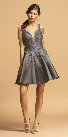 Charcoal Appliqued Short Homecoming Dress with Pockets