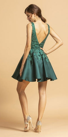 Hunter Green Appliqued Short Homecoming Dress with Pockets