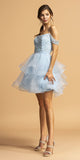 Tiered Ice Blue Cold-Shoulder Homecoming Short Dress