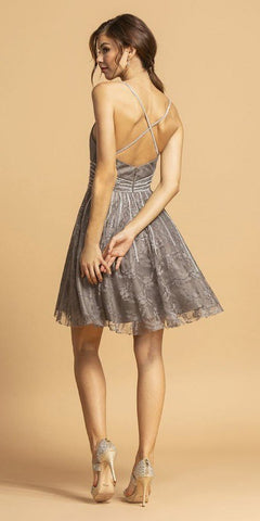 Criss-Cross Back Lace Short Homecoming Dress Charcoal