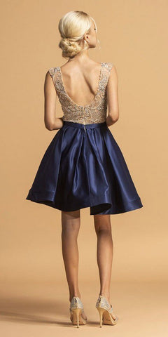Navy Blue Satin Skirt Beaded Bodice Short Homecoming Dress
