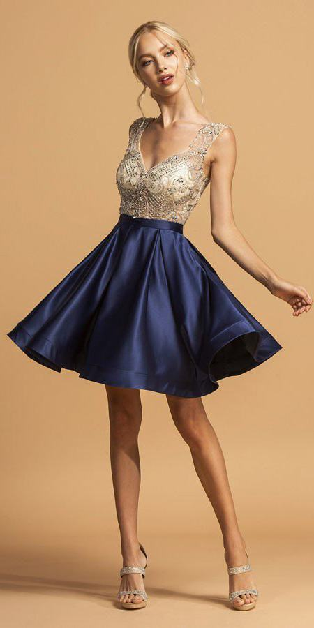 976ad8af8363 Navy Blue Satin Skirt Beaded Bodice Short Homecoming Dress