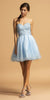 Ice Blue Strapless Homecoming Short Dress with Sweetheart Neckline