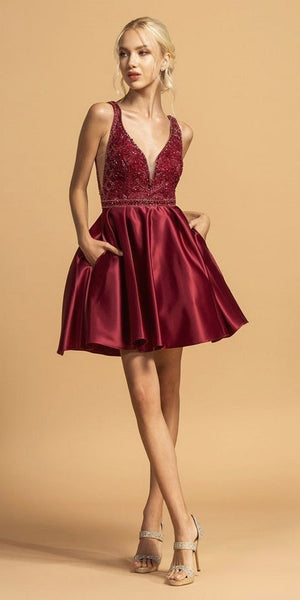 Burgundy Beaded Homecoming Short Dress with Pockets