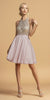 Halter Open-Back Beaded Short Homecoming Dress Mauve