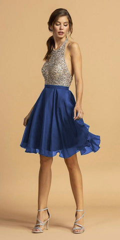 Halter Open-Back Beaded Short Homecoming Dress Royal Blue