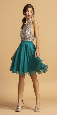 Halter Open-Back Beaded Short Homecoming Dress Teal