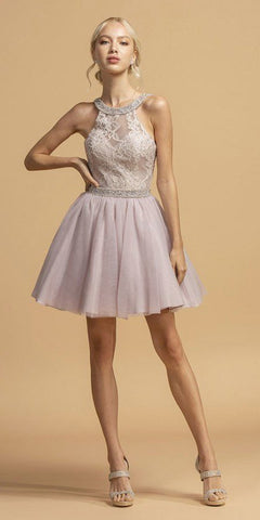 A-Line Beaded Lace Bodice Dress Mauve Long Tulle Skirt
