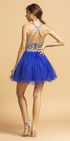 Halter Short Homecoming Dress with Metallic Appliques Royal Blue