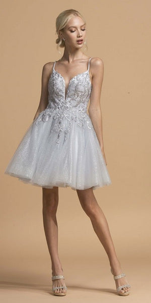 Silver Cut-Out Back Homecoming Short Dress