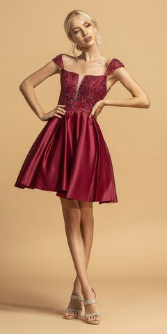 Lace-Up Open-Back Short Homecoming Dress Burgundy
