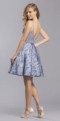 Appliqued Slate Gray Homecoming Short Dress Print Skirt with Pockets