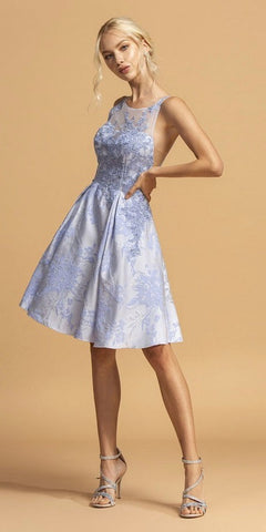 Perry Blue Appliqued Short Homecoming Dress Sleeveless