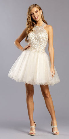 White/Gold Halter High-Neck Homecoming Short Dress