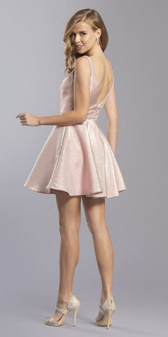Blush Short Homecoming Dress with Pockets