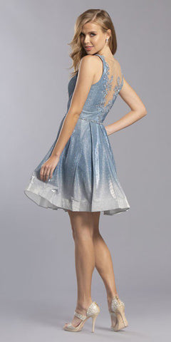 Appliqued Back Ombre Homecoming Short Dress Aqua
