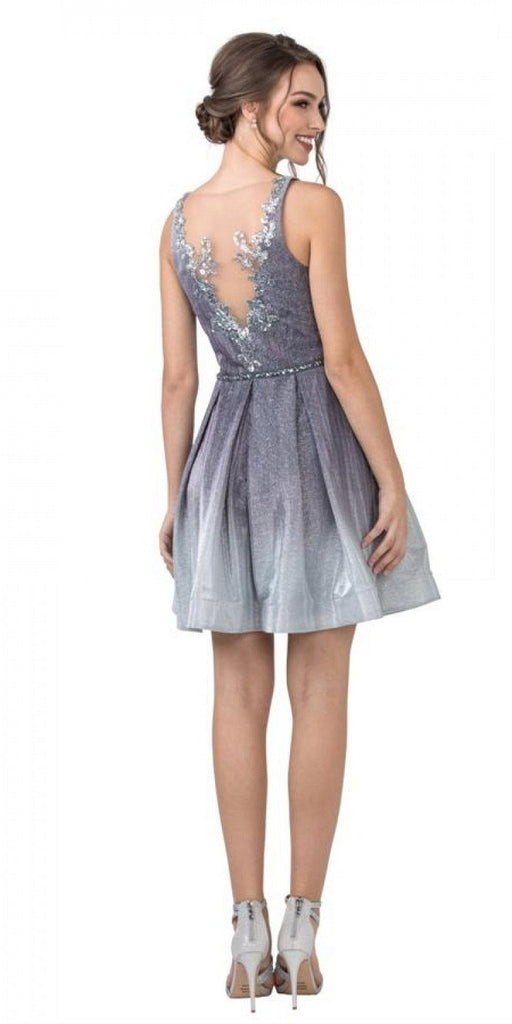 Aspeed Design S2290 Appliqued Back Ombre Homecoming Short Dress Charcoal