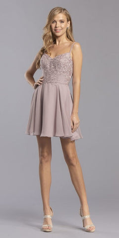 Mauve Lace Embroidered Bodice Short Party Dress