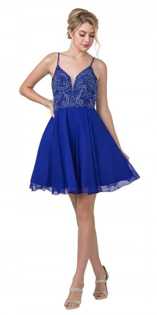 Aspeed S2298 A-Line Beaded Short Homecoming Royal Blue Dress