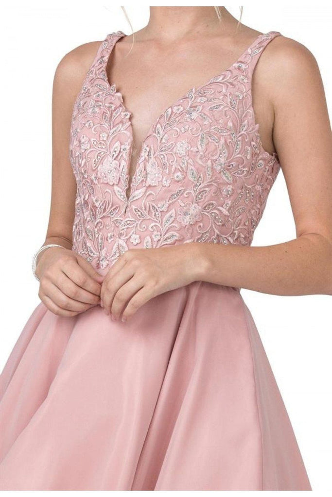 Aspeed S2306 V-Neck Embroidered Mauve Party Short Dress